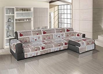 Cubresofás acolchado para sofás con chaise longue con ...