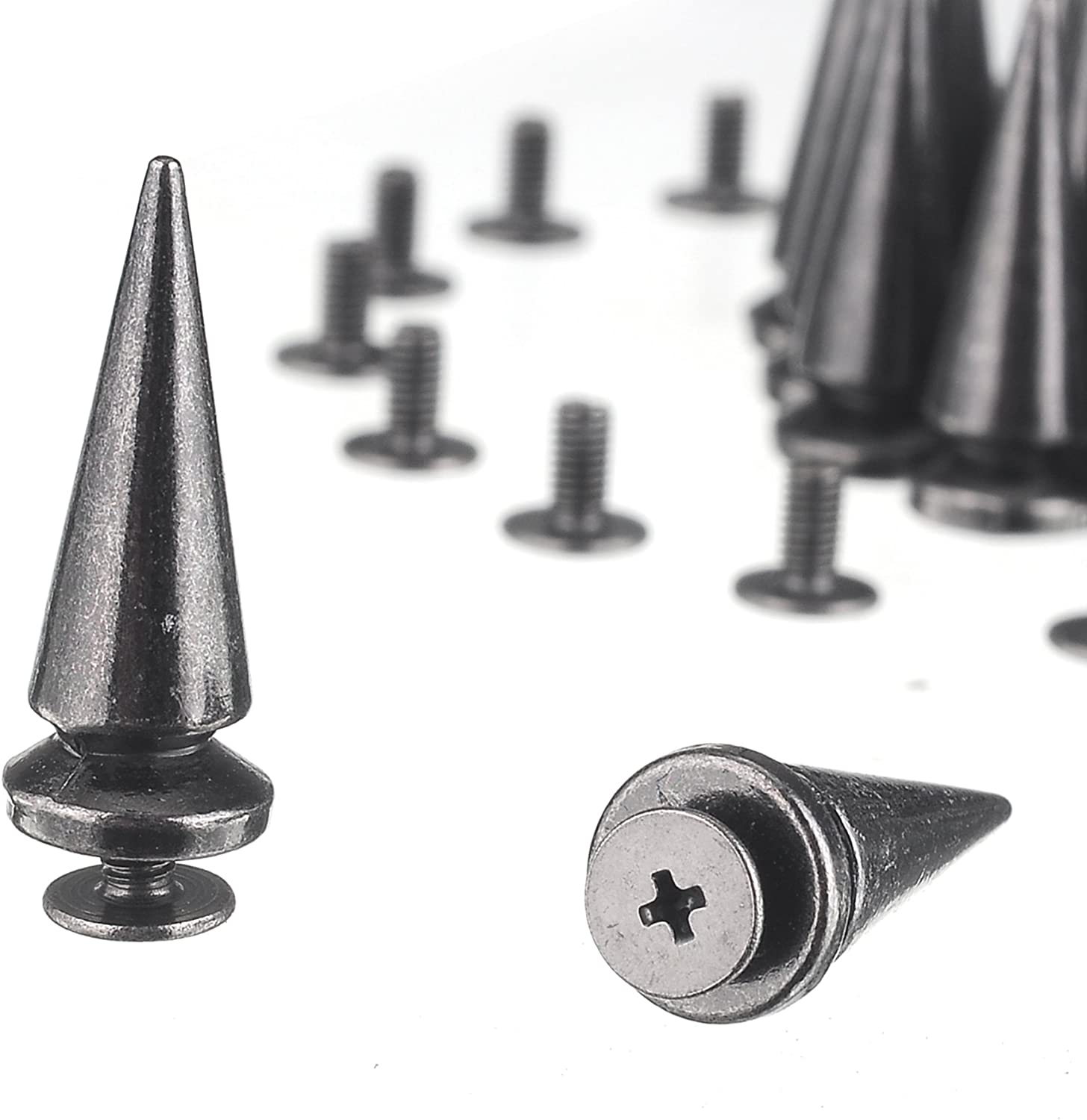 RUBYCA 25MM 10 Sets Large Metal Big Tree Spikes and Studs Metallic Screw-Back for DIY Leather-Craft Bronze Color