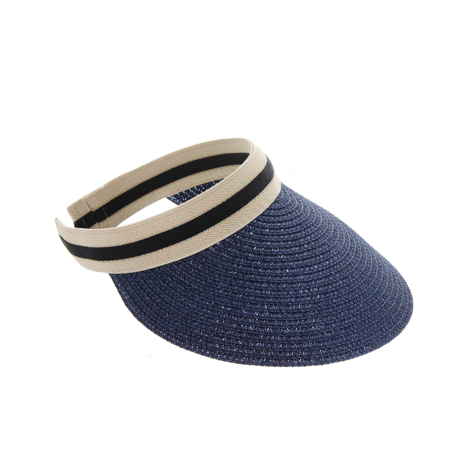 Colorful UV Sun Protecting Visor Adjustable Clip on Beach Hat for Ladies and Women Outdoor Sport Cap Braided Design in Navy