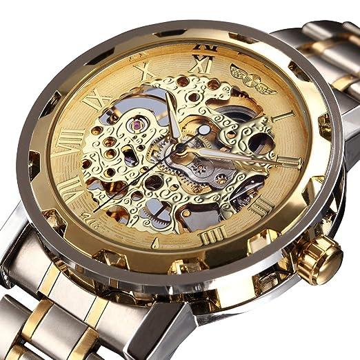 caluxe Mejor Venta de Lujo Oro Hombres Esqueleto mecánico Reloj Correa de Acero Inoxidable Deben Tener colección clásica Vintage Reloj: Amazon.es: Relojes