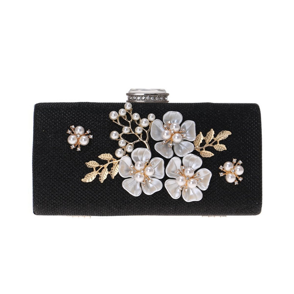 Black Flada Women's Flower Evening Handbag Clutch Pearl Beaded Elegant Hard Evening Purse