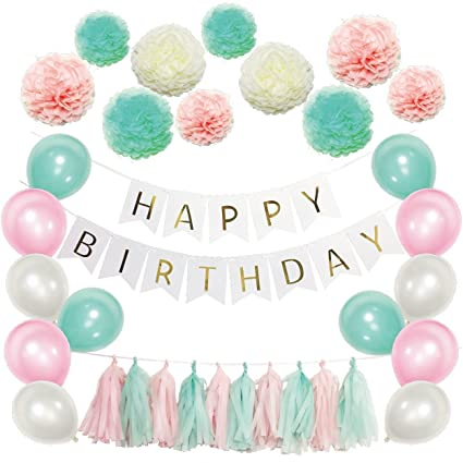 Party Decoration Favors Happy Birthday Decorations Banner White Black Latex Balloons With Tissue Paper Pom Poms