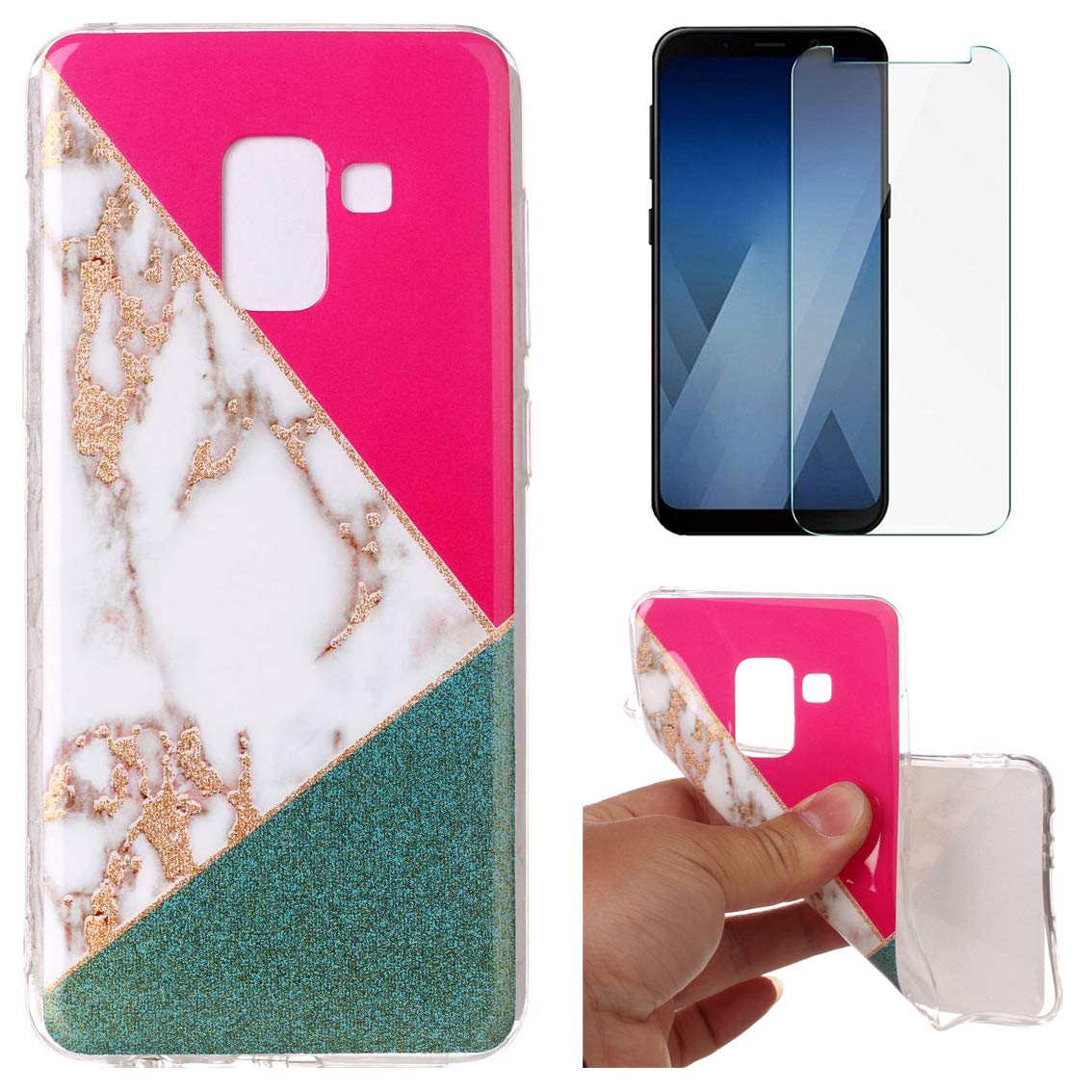 for Samsung Galaxy A8 2018 A530 Marble Case with Screen Protector, OYIME Creative Glossy Blue & Gold Marble Pattern Design Protective Bumper Soft Silicone Slim Thin Rubber Luxury Shockproof Cover