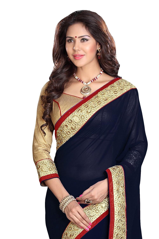 Mirchi Fashion Damen Sari Blau Blau One size