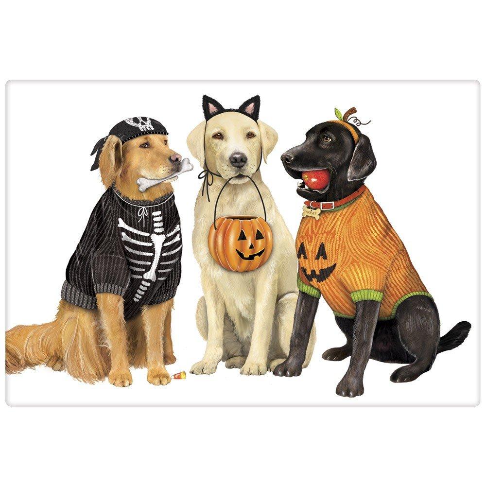 Mary Lake-Thompson Halloween Dog Friends Flour Sack Dish Towel