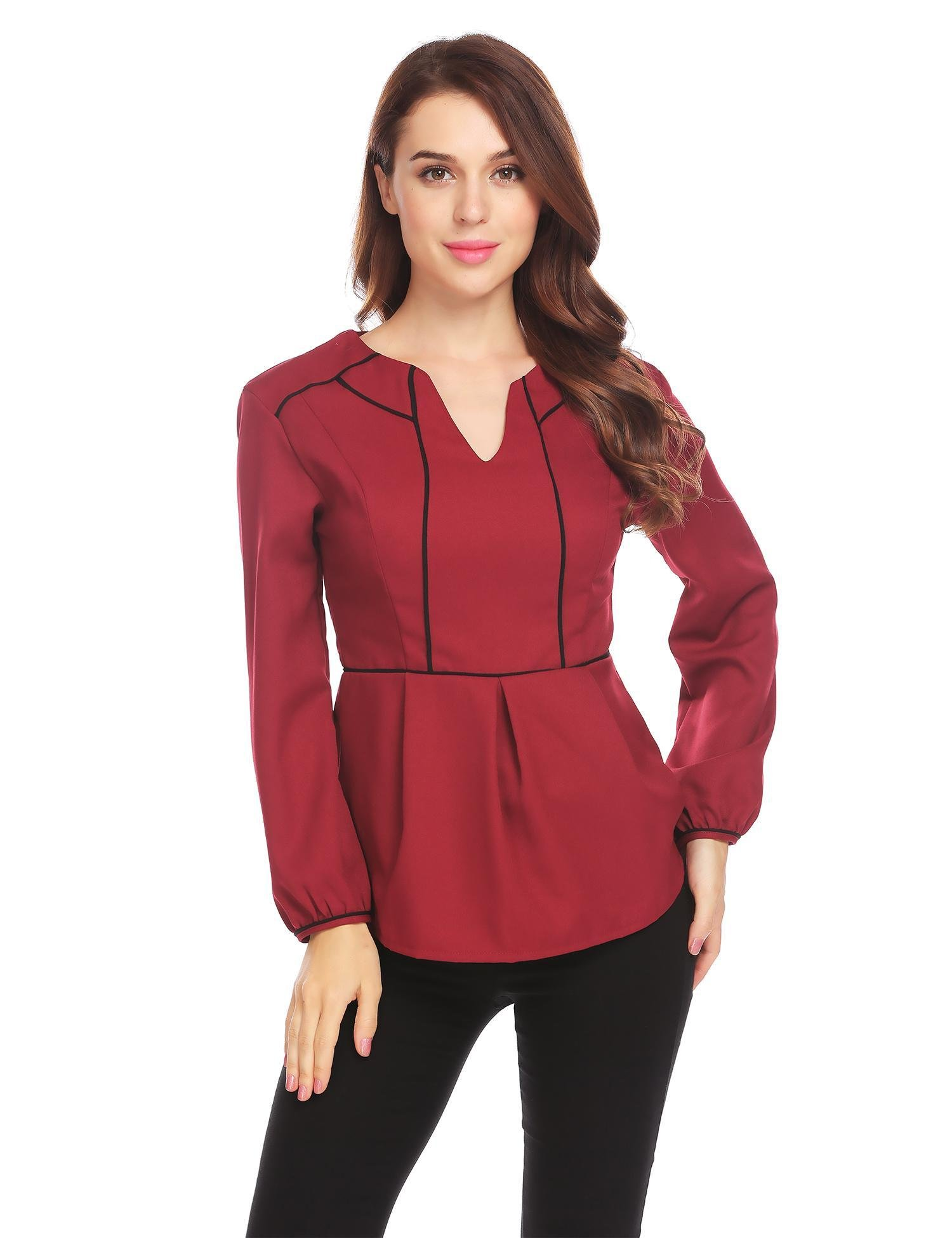 Bulges Women Notch Neck Tops Long Sleeve Patchwork Slim Fit Casual Business Peplum Blouse