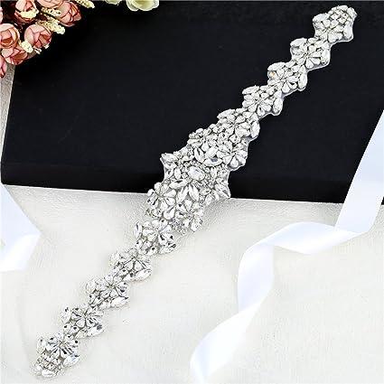Amazon.com  FANGZHIDI Wedding Belt Bridal Sash Rhinestones Applique ... 6f6ba4ee5ac2