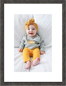 Golden State Art, 12x16 Distressed Black Wood Picture Frame - White Mat for 8x12 Photos - Sawtooth for Wall Display - Great for Weddings, Graduations, Baby Showers, Holidays