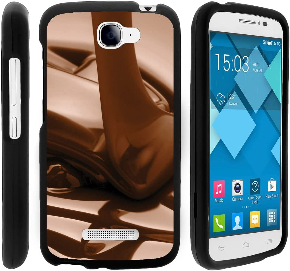 TurtleArmor | Compatible with Alcatel One Touch Fierce 2 Case | POP Icon Case [Slim Duo] Hard PC Plastic with Rubberized Coating 2 Piece Cover Shell on Black Food - Melted Chocolate