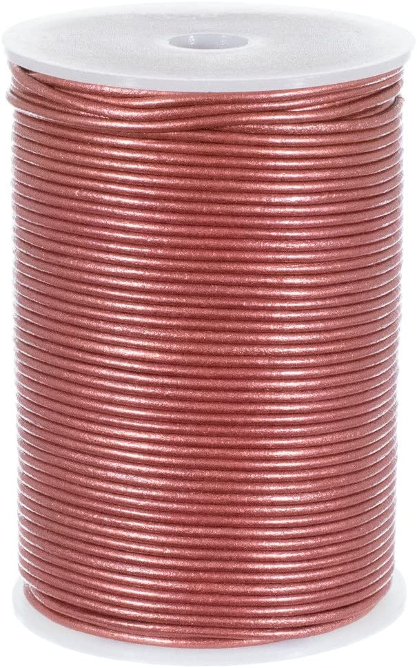 Craft County 2mm Round Leather Cord 10 25 or 50 Yards or 328 Feet 5 Pearl, 5 Yards