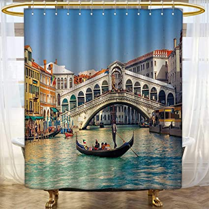 Anhounine Venice Shower Curtains 3D Digital Printing Cityscape On A Sunny Day With Rialto Bridge Venetian