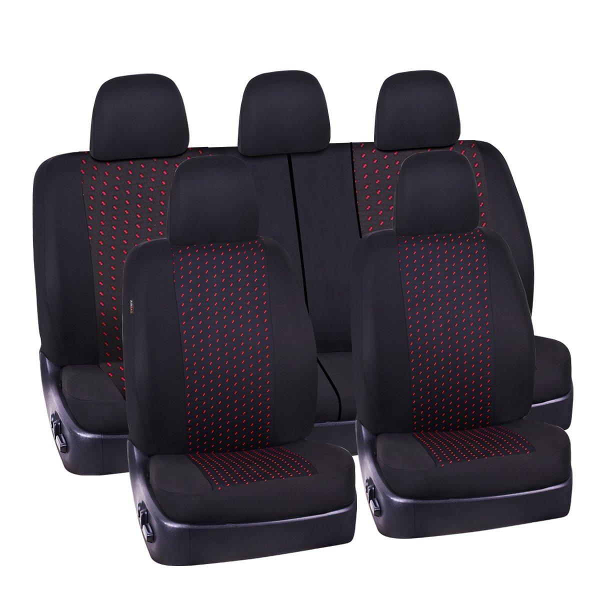 CAR PASS シートカバー11点セット 自動車用最高級シートカバー 一般車SUV用ユニバーサル型 ブラックとグレー 内側に5mmの合成スポンジ エアバッグ ブラック ZT-008 B01FDTVUSI ブラック&レッド ブラック&レッド