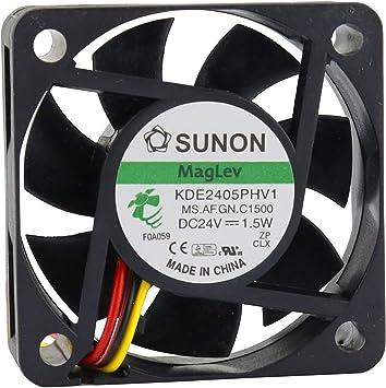 Sunon - Ventilador 50 mm 50 x 50 x 15 KDE2405PHV1 refrigeración 24 ...