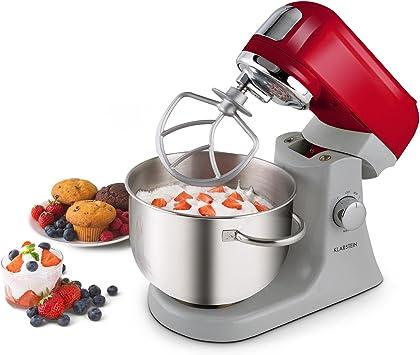 Klarstein Kitcheneer 1000W 4.5L Rojo, Acero inoxidable - Robot de cocina (4, 5 L, Rojo, Acero inoxidable, Giratorio, 2 kg, Aluminio, Metal): Amazon.es: Hogar