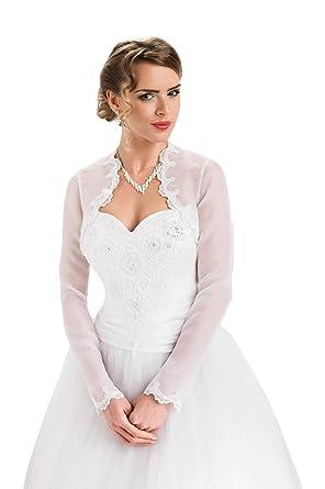 Amazon.com: Wedding Top Organza Bolero Bridal Shrug Jacket Long ...