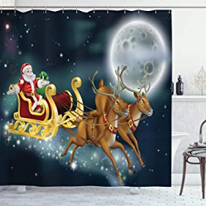 Ambesonne Christmas Shower Curtain, Santa Claus with Reindeer in Sledge Dark Starry Night with Moon Fantasy, Cloth Fabric Bathroom Decor Set with Hooks, 70