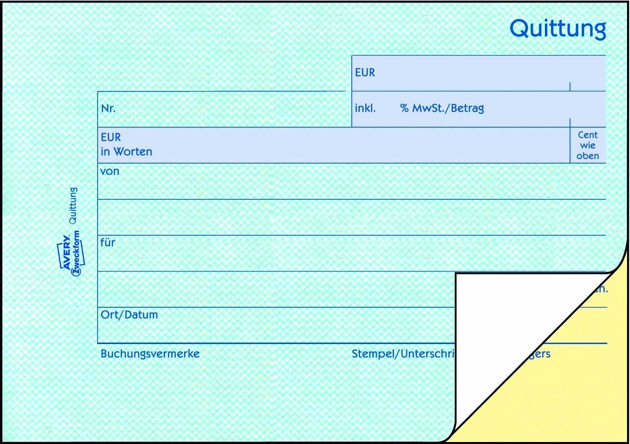 Avery Zweckform 1736 Quittung A6 Quer Inkl Mwst 2x40 Blatt