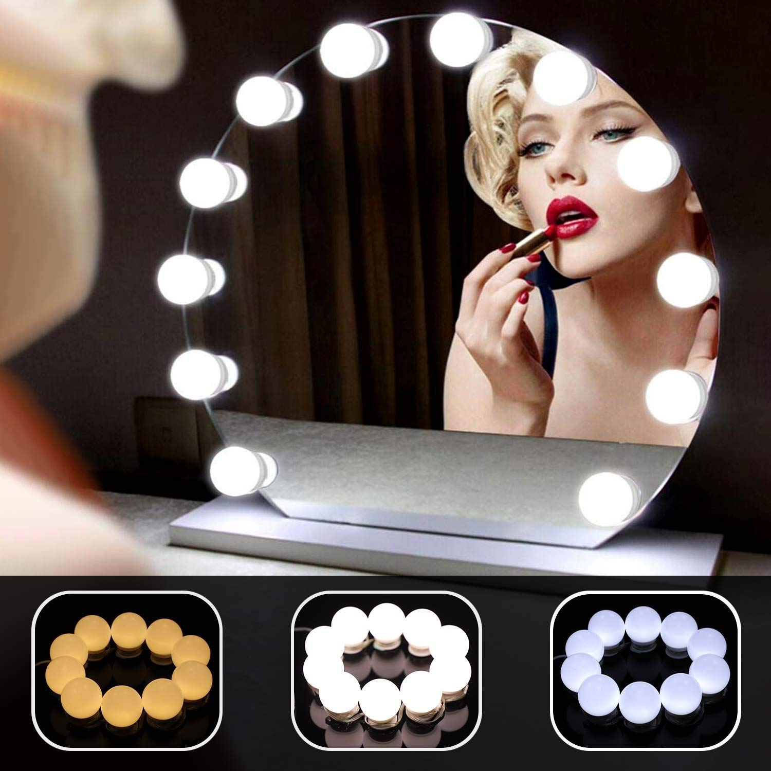 Hollywood Style LED Vanity Mirror Lights Kit, 10 Dimmable Bulbs with 3 Color Lighting Modes Makeup Mirror Lighting Fixture and Memory Function for Vanity Table Set, Bathroom Dressing Room