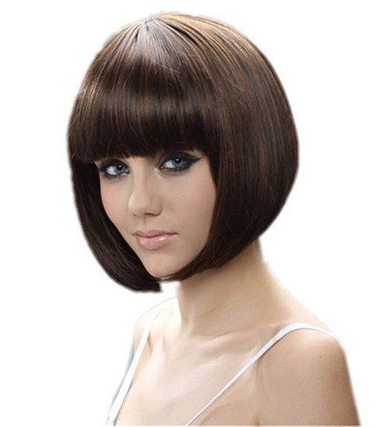 Coo2day 8 30cm Short Hair Wig Natural As Real Hair Cosplay Wigs Neat Bangs Bob Wigs(Brown) Cool2day JF011492-AA