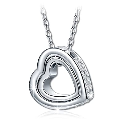 PAULINE & MORGEN LOVE YOU FOREVER 925 Sterling Silver Necklace for Women KQsgs7RJ