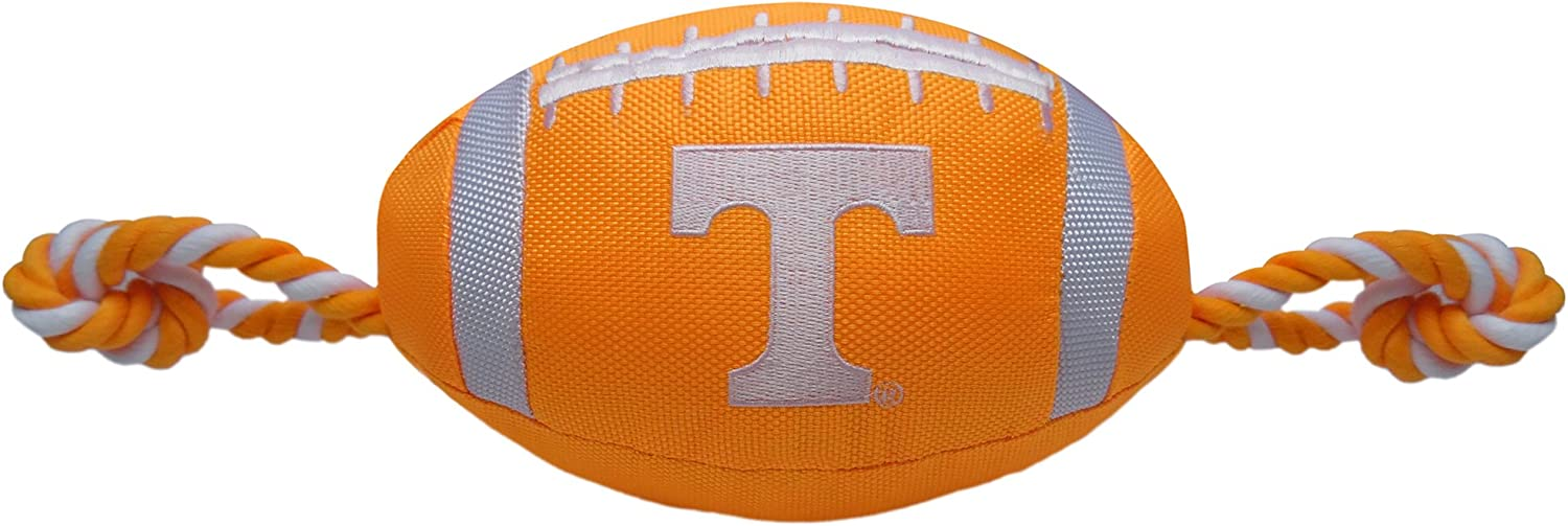 Pets First NCAA Tennessee Volunteers Football Dog Toy, Tough Quality Nylon Materials, Strong Pull Ropes, Inner Squeaker, Collegiate Team Color