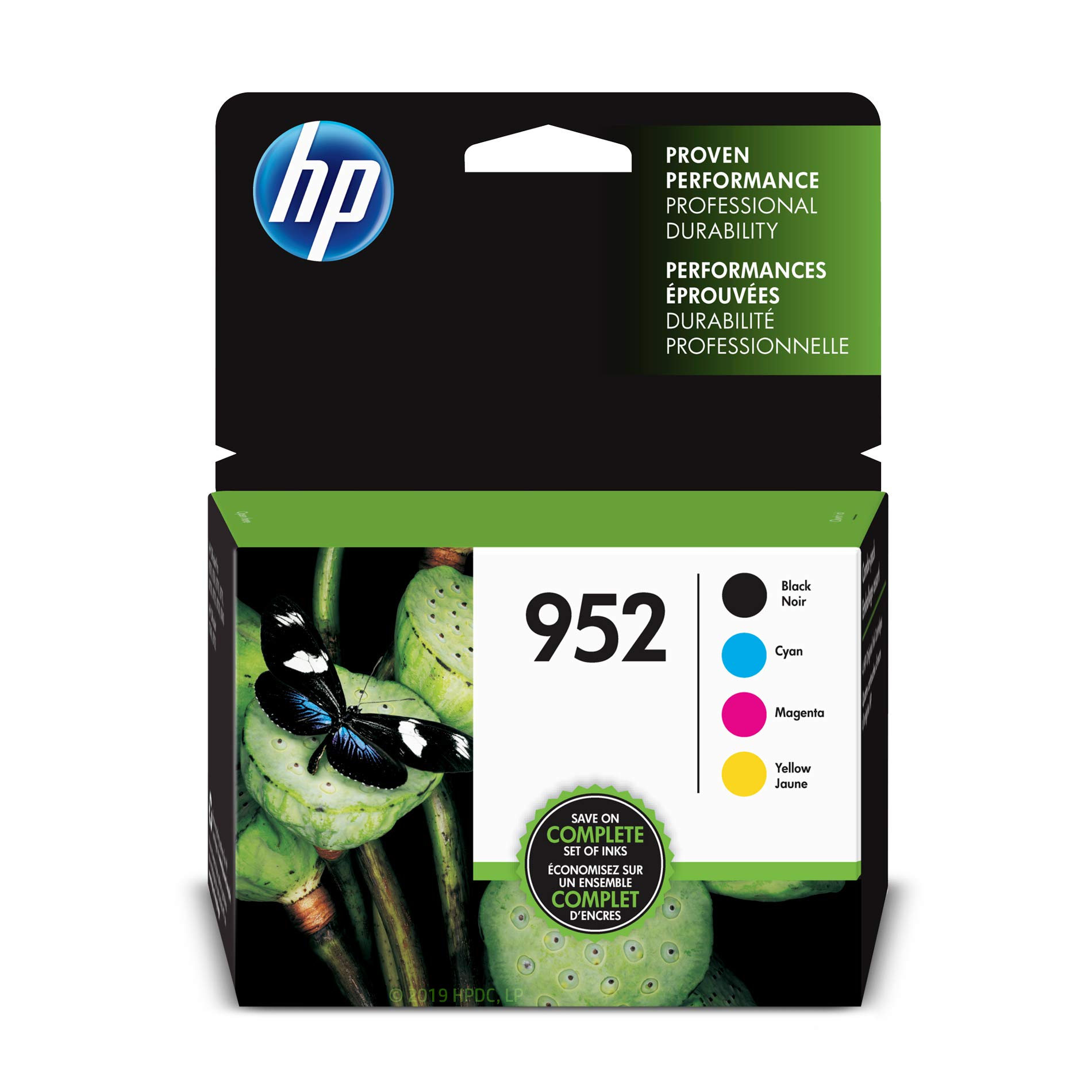 HP 952 Black, Cyan, Magenta & Yellow Ink Cartridges, 4 Cartridges (F6U15AN, L0S49AN, L0S52AN,L0S55AN)