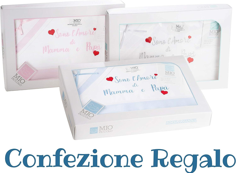 artesanales Mio fabricado en Italia para regalo azul celeste 100 /% algod/ón Juego de s/ábanas para cuna de beb/é reci/én nacido