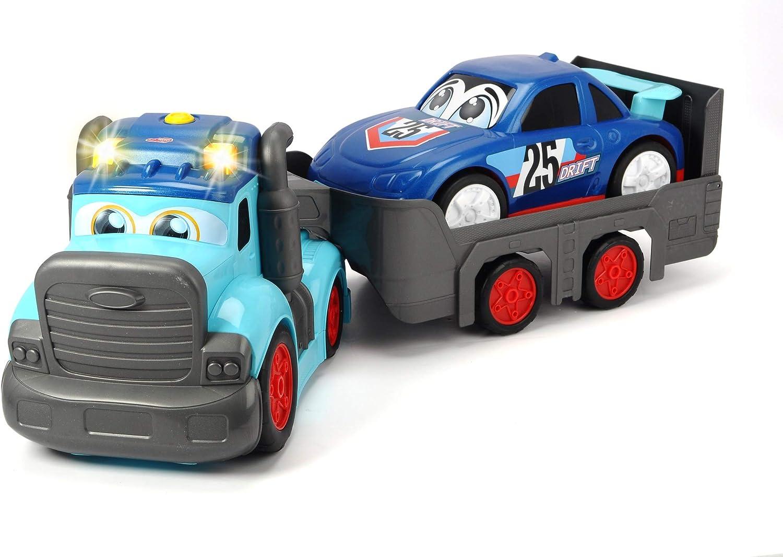 60 cm Dickie Toys 203819011 Happy Truck Incluye Pilas Remolque de Coche extra/íble Multicolor veh/ículo de Transporte cami/ón