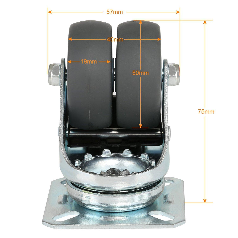 Activit/é 1 Pi/èces roulettes pivotantes de roulettes de Transport Roues avec Frein /à roulement /à Rouleaux Economique pour sols irr/éguliers de silencieuse Non tachant 50mm