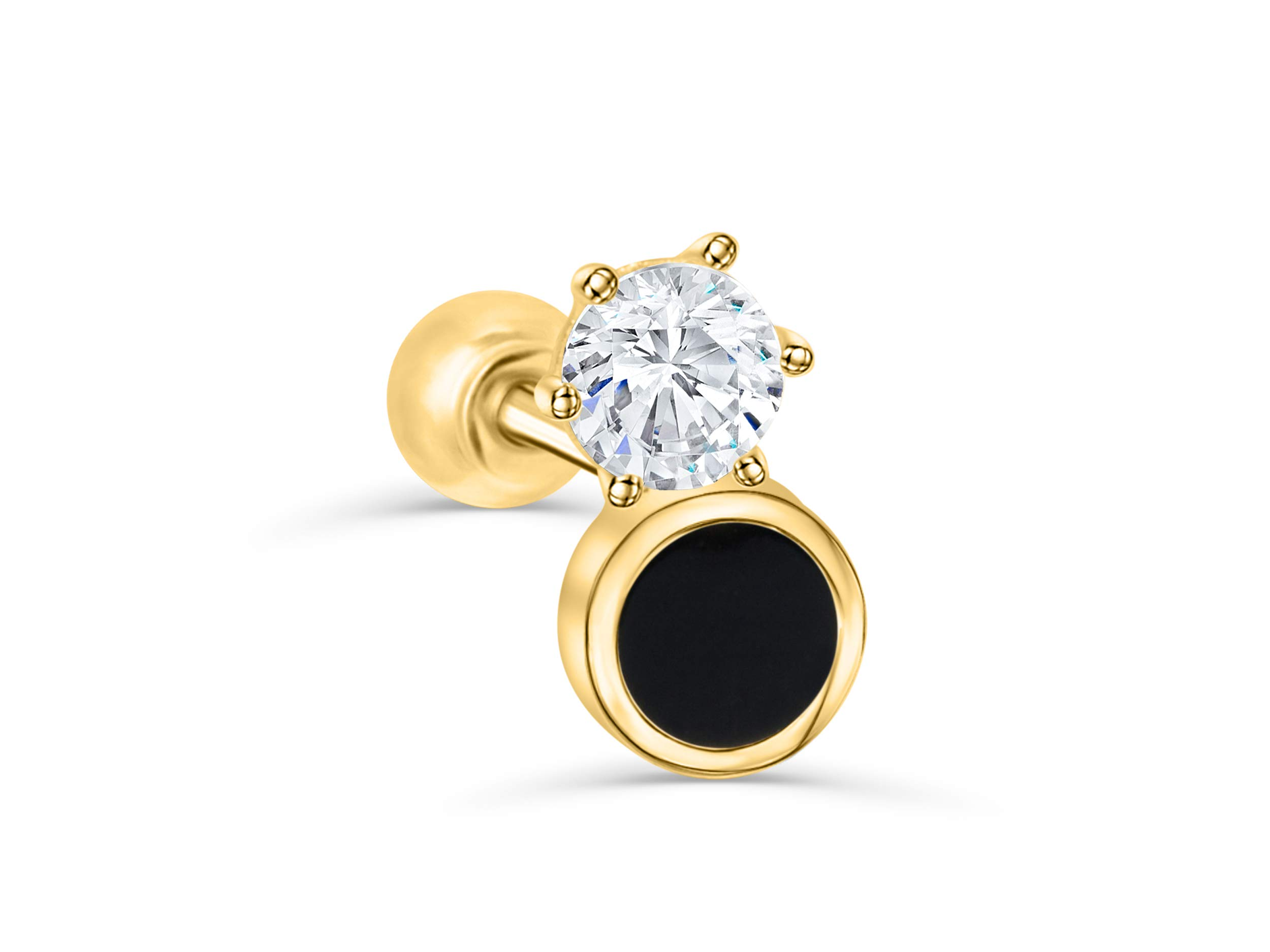 14K Solid Yellow Gold 5mm Tragus Conch Cartilage Jewelry Cz Circle Black Round Ear Studs Post Ball Earring Piercing For Women Sensitive Ears