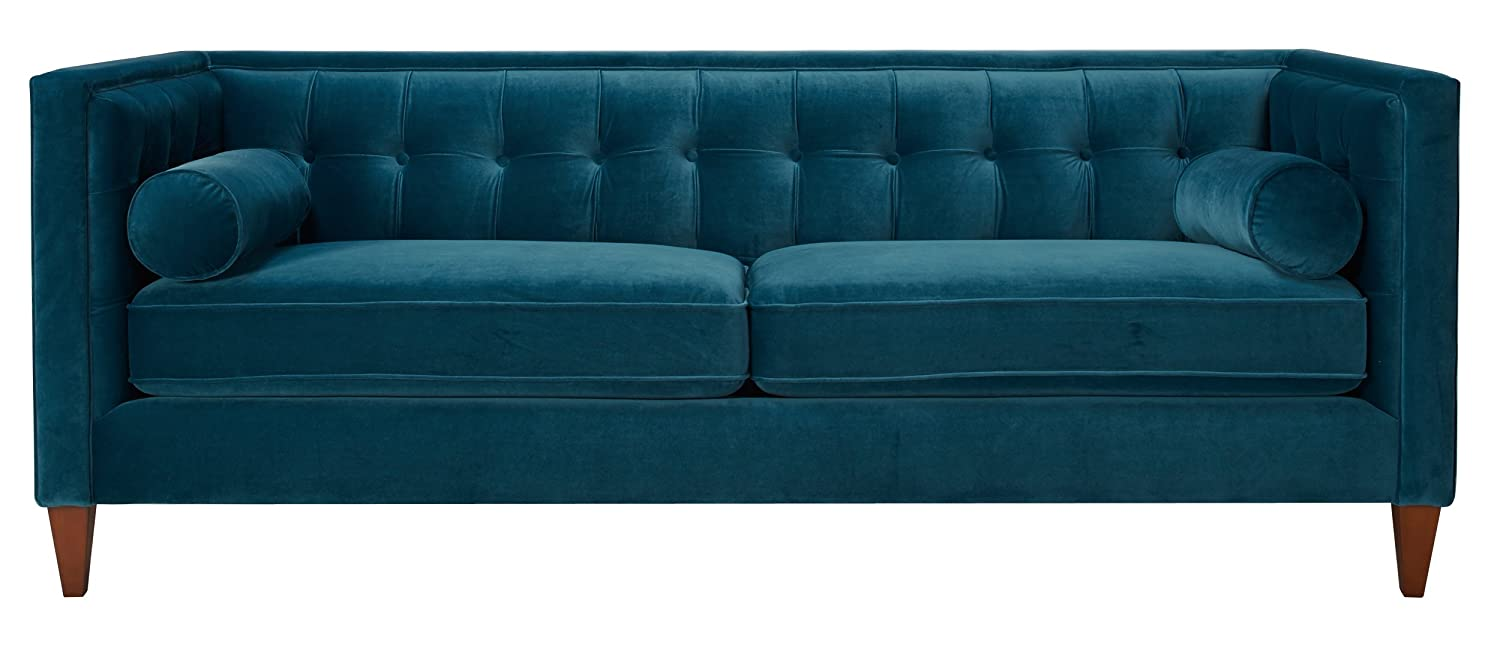 High Quality Amazon.com: Jennifer Taylor Home Sofa, Satin Teal, Velvet, Hand Tufted,  Hand Painted And Hand Rub Finished Wooden Legs: Kitchen U0026 Dining