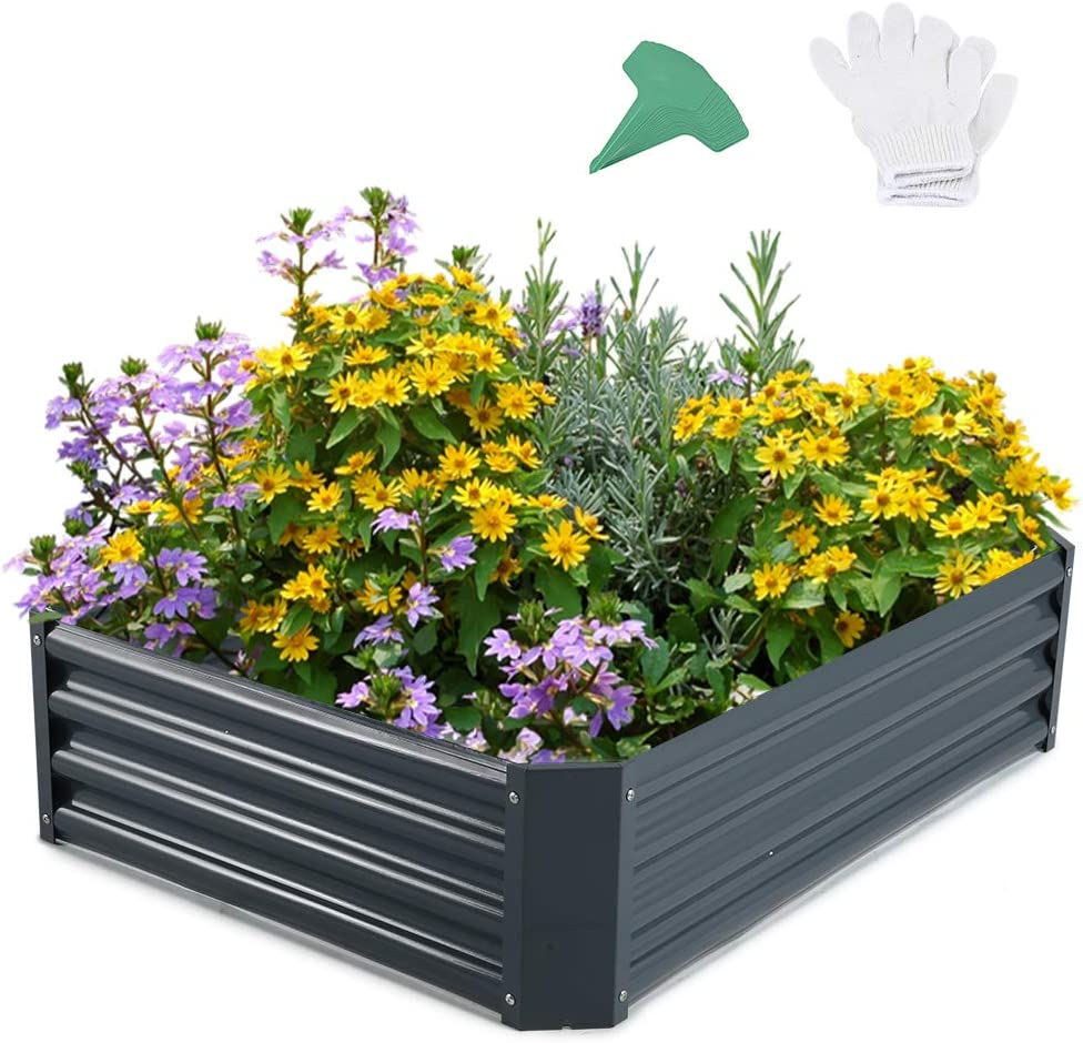 GROWNEER 68 Inches Dark Gray Metal Raised Garden Bed with 1 Pair of Gloves and 15 Pcs Plant Labels, Elevated Planter Box for Vegetables, Fruits, Flowers, Herbs