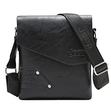 00f913b511 JEEP BULUO Leather Messenger Bag For Men (Black)