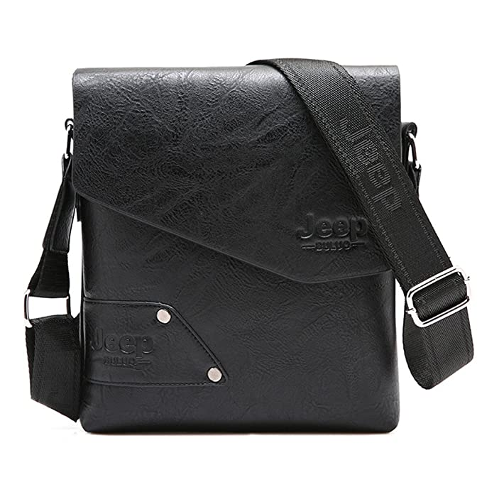Amazon.com | JEEP BULUO Leather Messenger Bag For Men (Black) | Messenger Bags