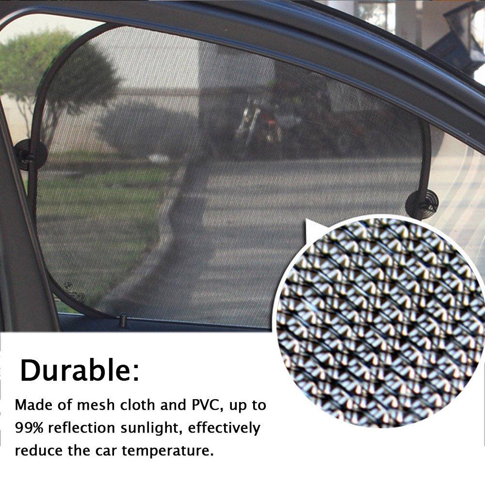 Elisona-6Pcs Car Windows Sun Shade Vehicle Front Rear Side Window Sunshade Windshields Visor Sun Screen UV Protector Windscreen Cover with 12Pcs Suction Cup