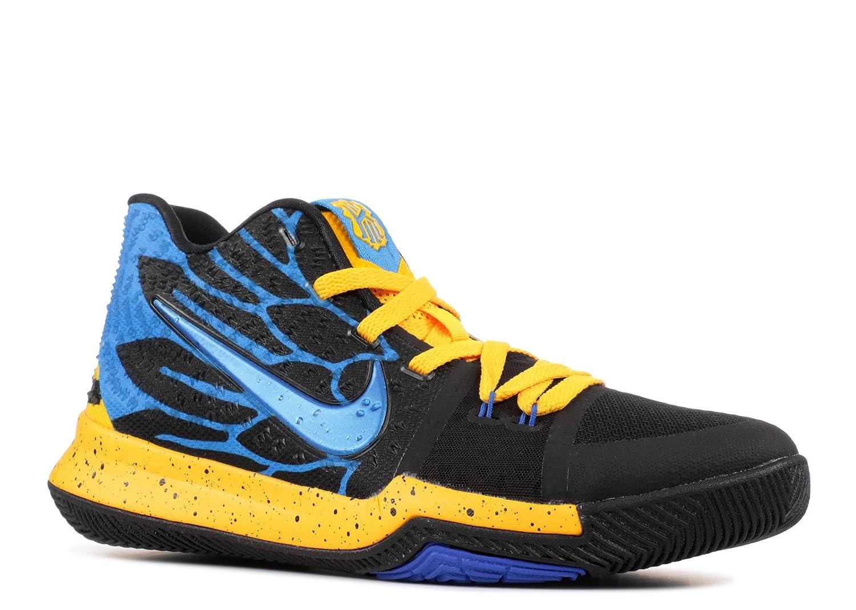 NIKE Boys Kyrie 3 Colorblock Mids Basketball Shoes B07881Q21R 7Y University Gold/Blue Glow