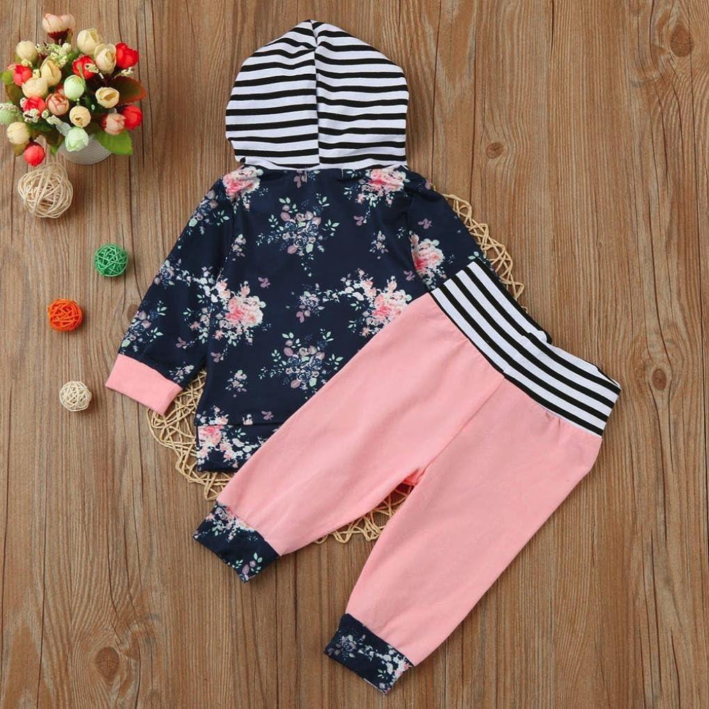 Digood Toddler Newborn Baby Kids Girls Boys Floral Hoodie T-shirt Tops+Stripe Pants 2Pcs Outfits Set