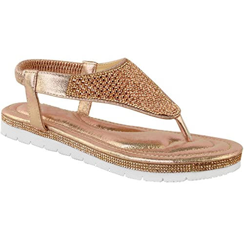 63d8fd6f598e5 Fashion Thirsty Womens Flat Low Diamante Summer Sandals Platform Gem Toe  Post Size 5
