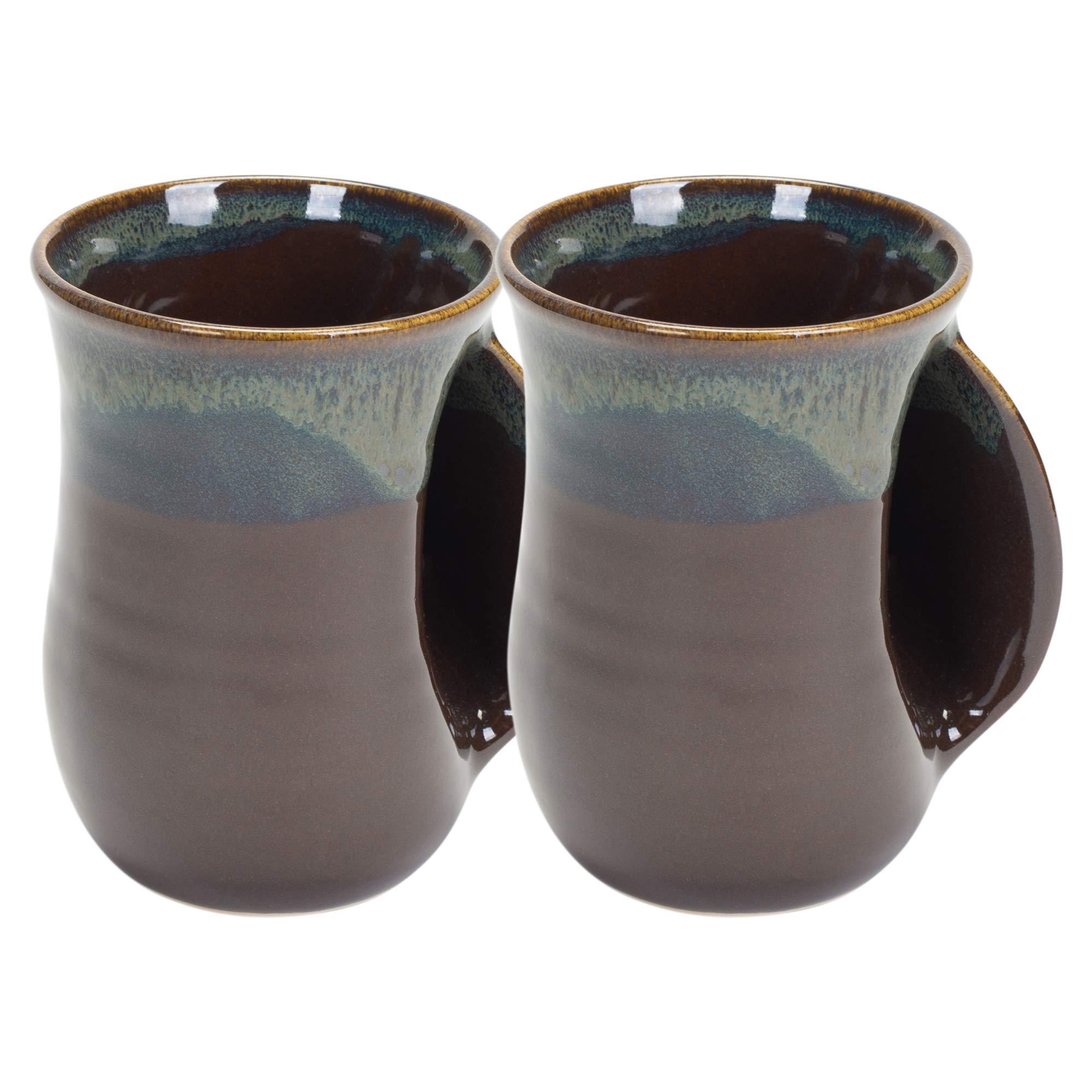 Mocha 14 Ounce Ceramic Handwarmer Coffee Mug, Right Hand, 2 Pack