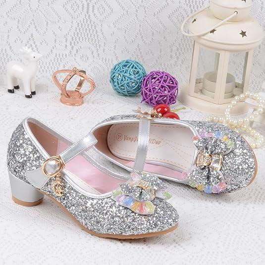 6fc7d57aab5b Yy.f YYF Fille Chaussures Ballerine a Talon Paillettes Brillants Respirable  Comfortable  Amazon.fr  Chaussures et Sacs