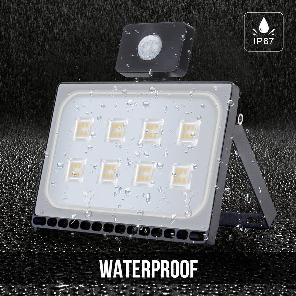 50W Blanco Blanco Cálido LED Sensor Movimiento Reflector Impermeable SMD IP67 Lámpara PIR Seguridad Lámpara LED 220V LED Exterior (50W*2): Amazon.es: ...