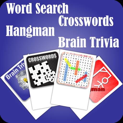 Word Search Crosswords Hangman Brain Trivia Word Games 4 In 1 Pack (1 Ct Packs)