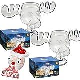 2er Set Elchgläer Moose Mug aus dem Film Schöne Bescherung inklusive Santa Pop Eyes Schlüsselanhänger Offiziell lizensiertes National Lampoon's Christmas Vacation Glas in Fotobox