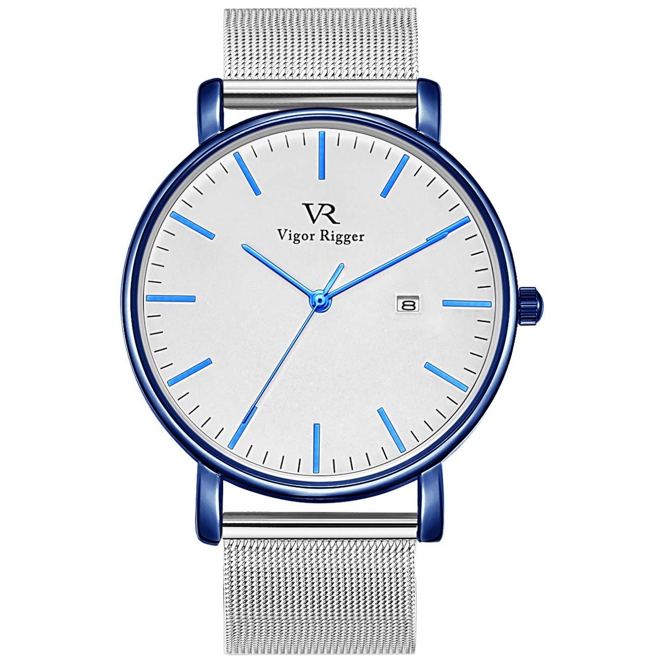 Vigor Rigger Reloj de Cuarzo para Hombre y Mujer, Reloj de Pulsera Ultra Fino Negro para Hombre con Diseño Minimalista clásico con Calendario de Fecha y Correa de Malla milanesa