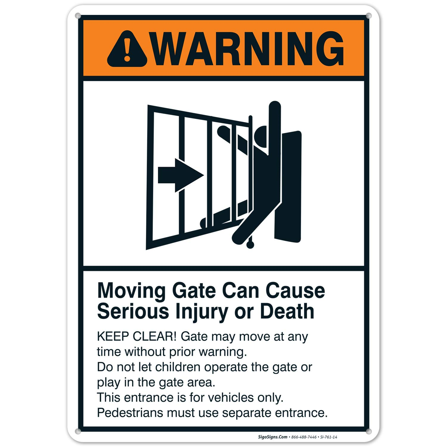 Moving Gate Sign, Moving Gate Can Cause Serious Injury or Death, 10x14 Rust Free Aluminum, Weather/Fade Resistant, Easy Mounting, Indoor/Outdoor Use, Made in USA by SIGO SIGNS