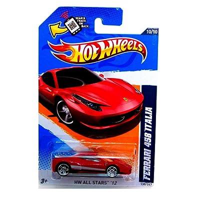 Hot Wheels 2012 All Stars Ferrari 458 Italia Red Card 130: Toys & Games