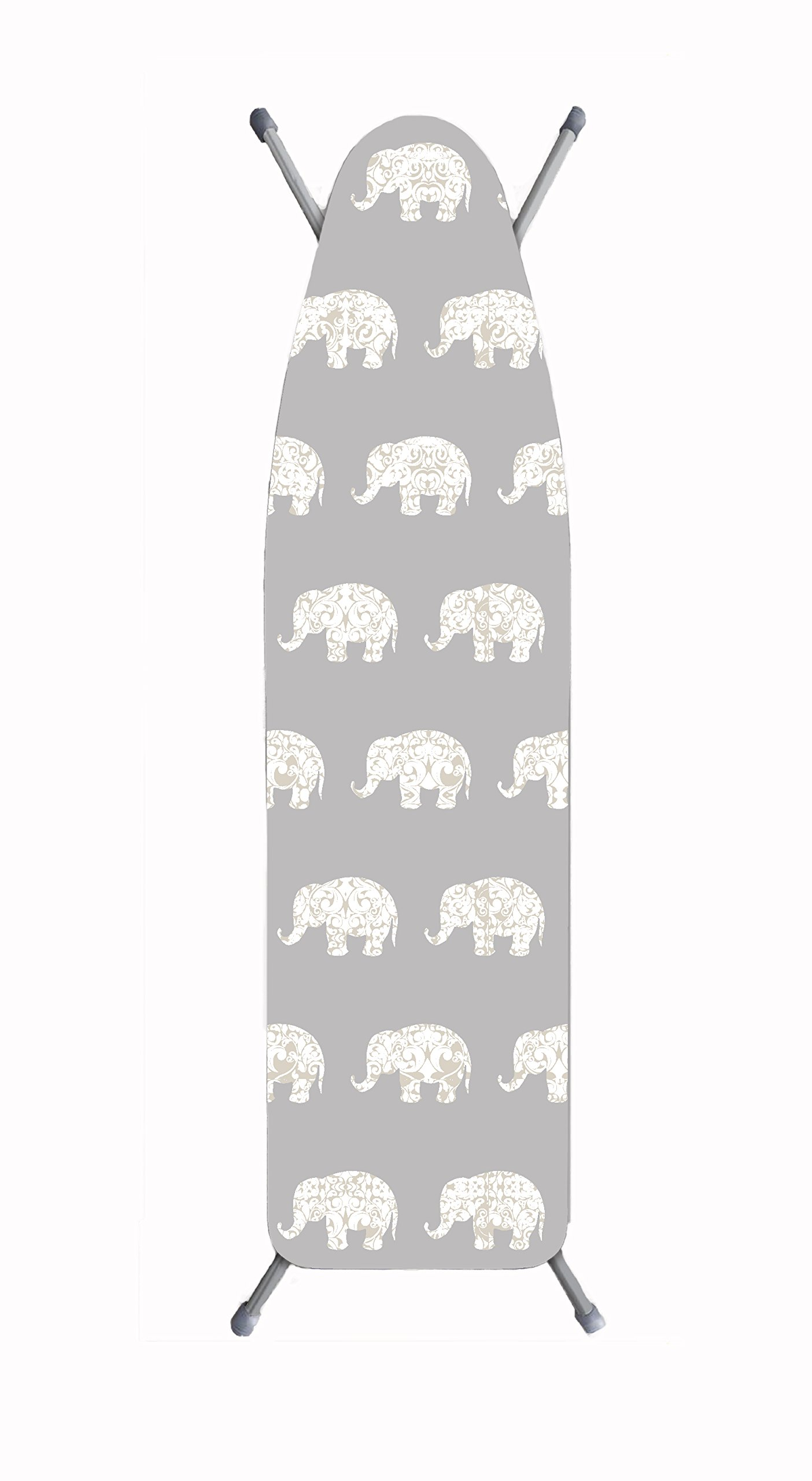 Laundry Solutions by Westex Damask Elephant Deluxe Ironing Board Cover, Grey