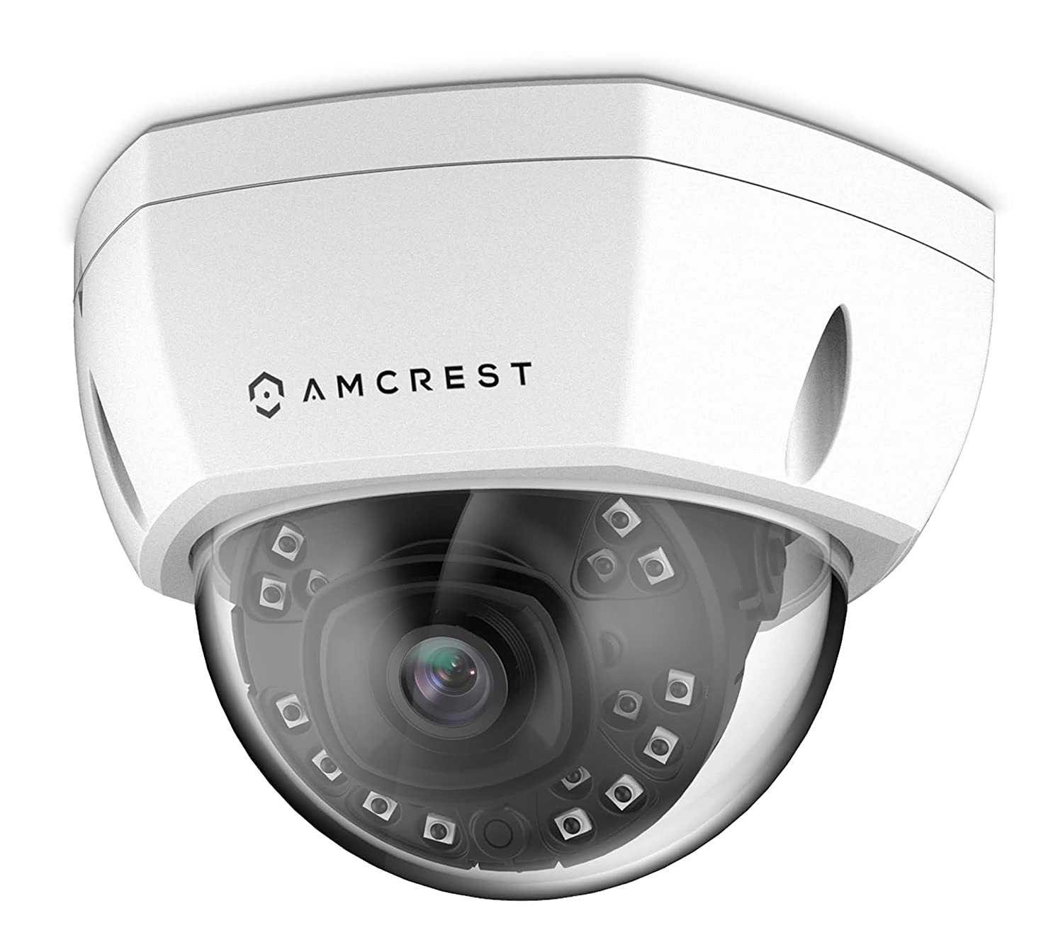 Amcrest UltraHD 4K 8MP Outdoor Security POE IP Camera, 98ft NightVision, 2.8mm Lens, IP67 Weatherproof, IK10 Vandal Resistant Dome, MicroSD Recording, White REP-IP8M-2493EW Renewed