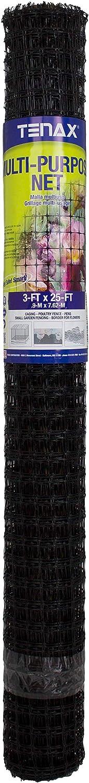 Tenax 60043989 Multi-Purpose Garden Net, 3' x 25', Black