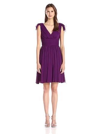 7a5a7ea70136 Vera Wang Women's Crinkle Chiffon Wide Waistband Fit and Flare Dress,  Aubergine, ...